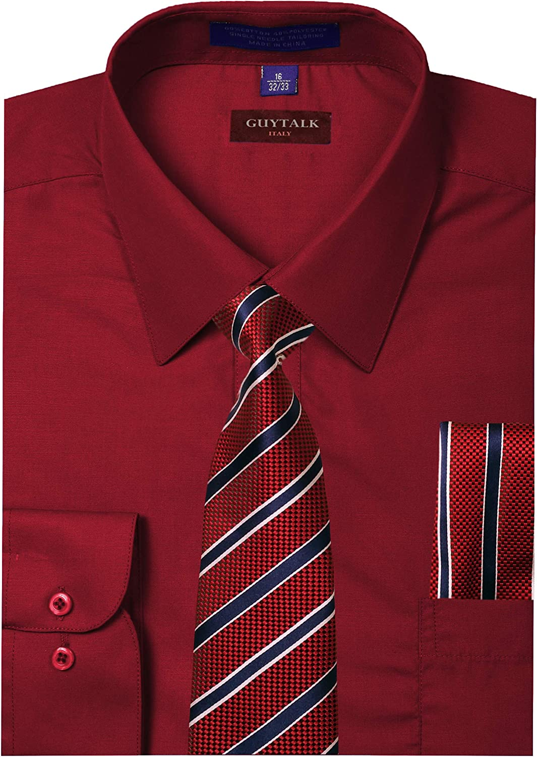 Guytalk Mens Dress Shirt with Matching Tie and Handkerchief(30 Colors, XS-5XL)