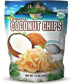 Paradise Green - USDA Organic Toasted Coconut Chips with Sea Salt 12 oz - Gluten Free, MCT, Paleo
