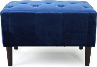 Christopher Knight Home Kalani Tufted Navy Blue New Velvet Ottoman