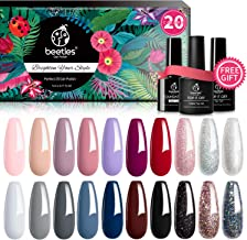Beetles 20 Pcs Gel Nail Polish Kit, Modern Muse Collection Soak Off Nail Gel Polish Nude Gray Nail Polish Pink Blue Glitter Gel Polish Starter Kit with Glossy & Matte Top Coat and Base Coat