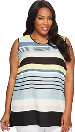 Plus Size Sleeveless Stripe Harmony Knit Back Top