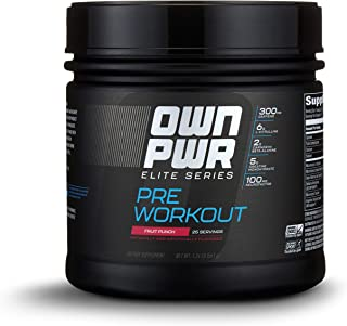 OWN PWR Elite Series Pre Workout Powder, Fruit Punch, 25 Servings, with 5 g Creatine, 2 g Beta Alanine (as CarnoSyn), 300 mg Caffeine & more