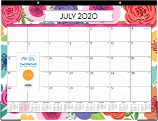 """Blue Sky 2020-2021 Academic Year Monthly Desk Pad Calendar, Trim Tape Binding, Two-Hole Punched, Ruled Blocks, 22"""" x 17"""", Mahalo"""