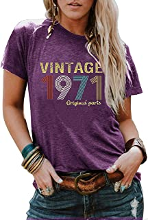 50th Birthday Gift T Shirt for Women Vintage 1971 Original Parts Tee Funny 49th Birthday Greeting Party Cute Casual Tops