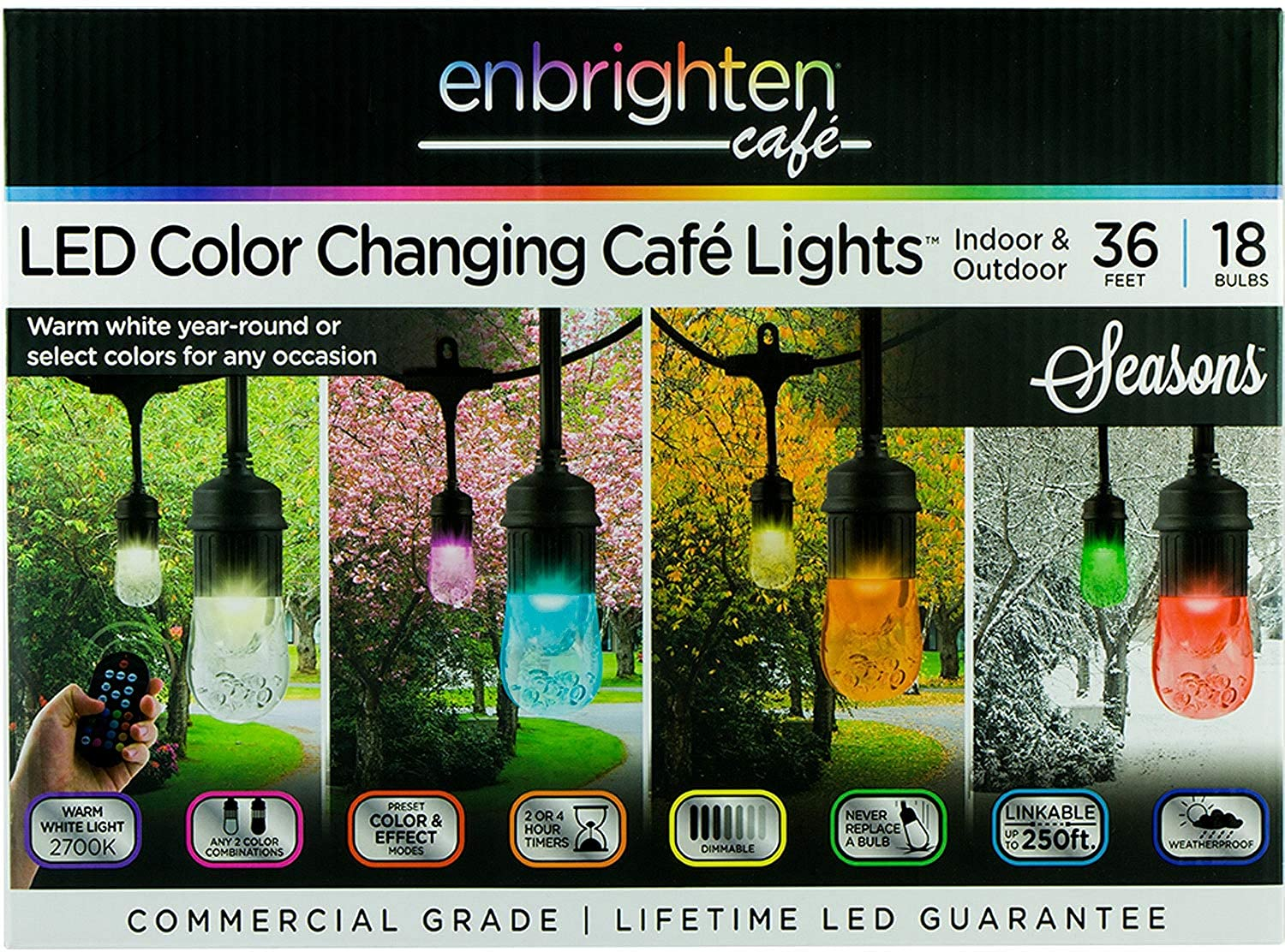 Enbrighten Vintage Seasons LED Warm White and color Changing Café String Lights (36ft.), Wireless, 18 Lifetime Bulbs, Premium, Weatherproof, Indoor Outdoor, Shatterproof, Commercial Grade, 37790