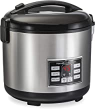 Hamilton Beach Digital Programmable Rice Cooker & Food Steamer, 20 Cups Cooked (10 Uncooked), With Steam & Rinse Basket, S...
