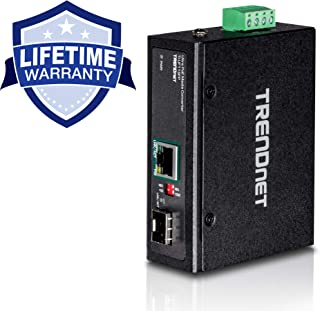 TRENDnet Hardened Industrial SFP to Gigabit UPoE Media Converter, IP30 Rated Housing, Includes DIN-Rail & Wall Mounts, Operating Temp. -40 to 75 °C (-40 to 167 °F), TI-UF11SFP