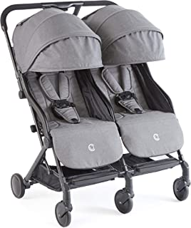Contours Bitsy Double Compact Fold Lightweight Travel Stroller, Granite Grey