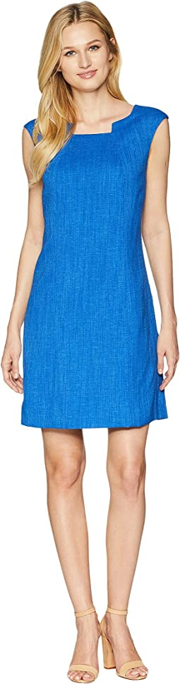 Grasscloth Pintuck Neck Sheath Dress