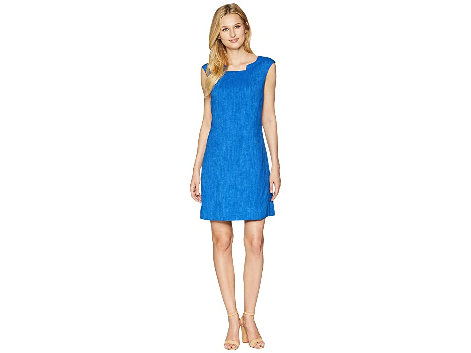 Tahari by ASL Grasscloth Pintuck Neck Sheath Dress (Regatta Blue) Women's Dress