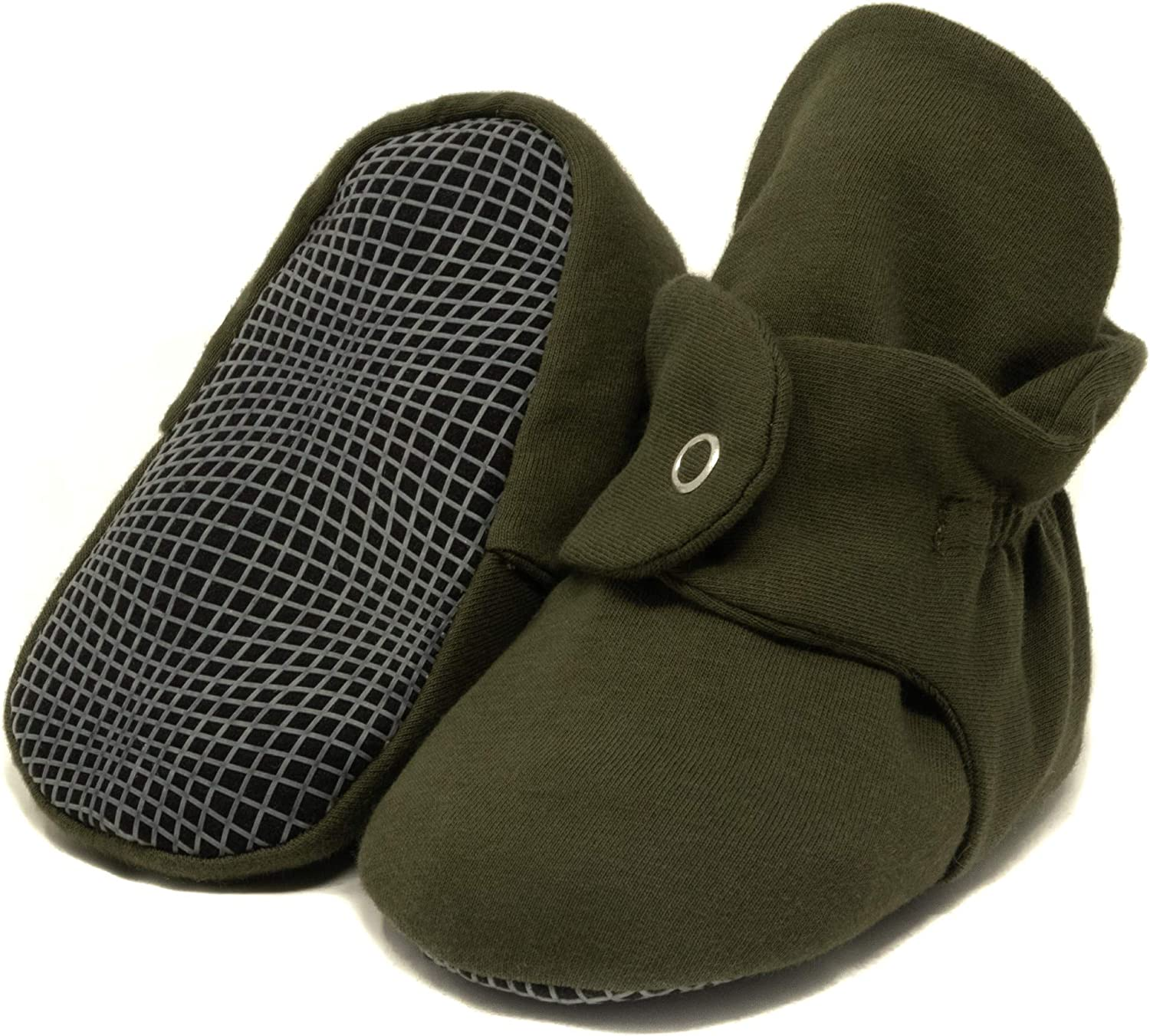 Organic Cotton Baby Booties, Non Skid, Soft Sole, Stay On Baby Shoes, House Slippers for Baby Boys Girls Toddlers