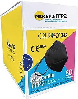 Mascarillas FFP2 homologadas CE 2834, color negro, filtrado de 5 capas - GrupoZona - Mascarilla protección negra - Envío r...