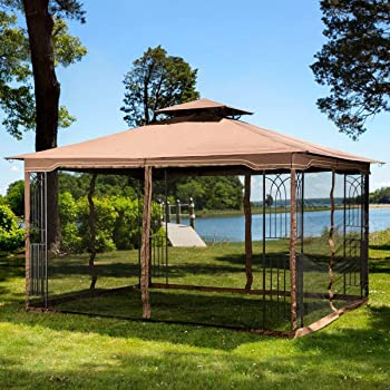 Amazon Com Sunjoy A102008600 Chapman 10x12 Ft Cedar Framed Gazebo With Steel 2 Tier Hip Roof Hardtop Brown Garden Outdoor