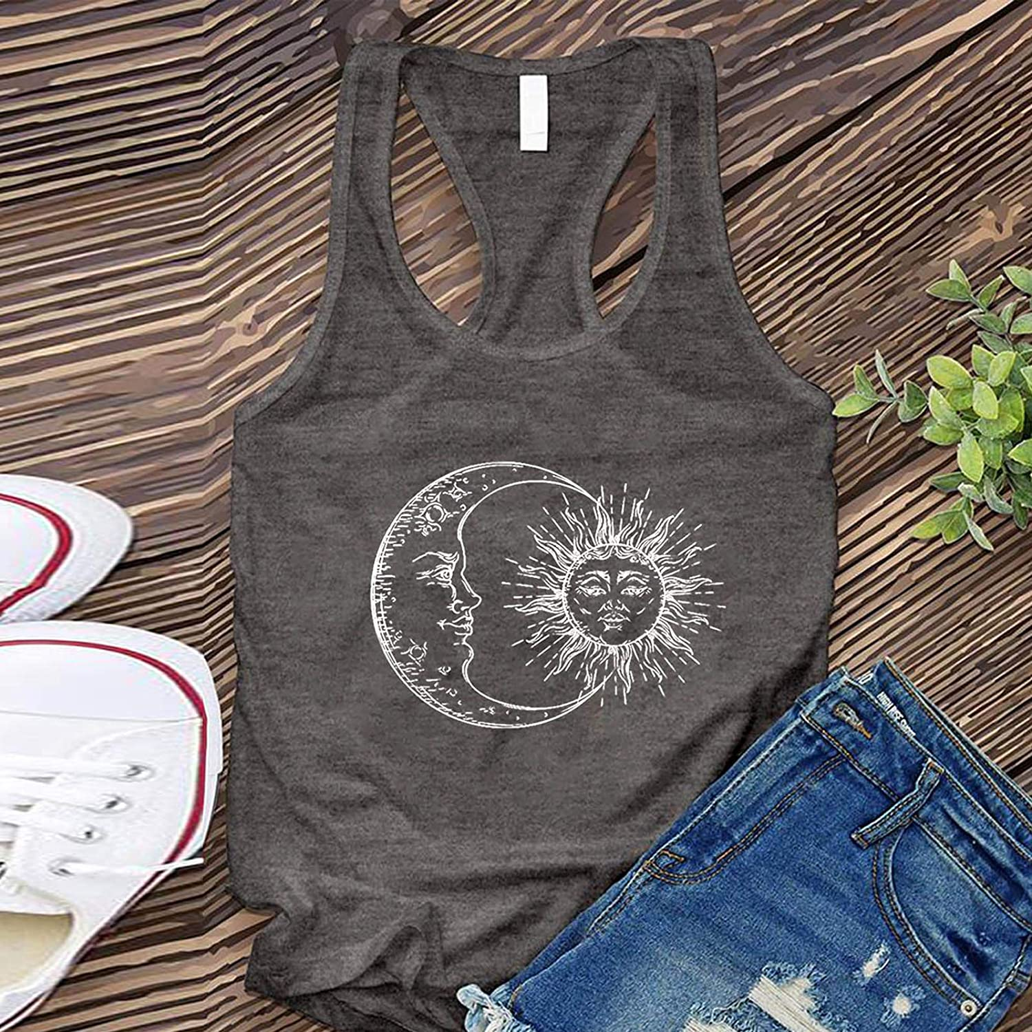 Casual Racerback Tank Tops for Women,Round Neck Sun Print Blouse Sleeveless Loose fit Summer Vests Streetwear