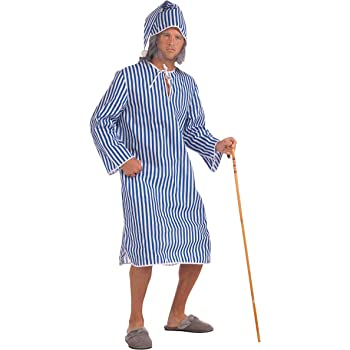Mens Scrooge Nightshirt Cap Costume Scroodge Dickens Christmas Fancy Dress