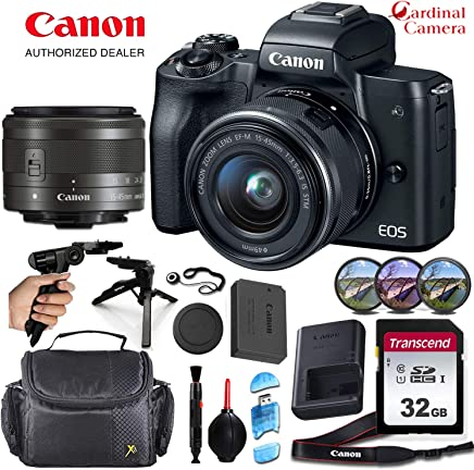 $649 Get Canon EOS M50 Mirrorless Camera (Black) and Canon 15-45mm f/3.5-6.3 is STM Lens Along with Padded Equipment Case + Elemental Accessory Bundle