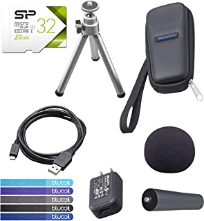 Zoom APH-1N Accessory Pack for H1N Handy Recorder Bundle with Silicon Power 32GB Class 10 SDHC MicroSD Card, and Blucoil 5-Pack of Reusable Cable Ties