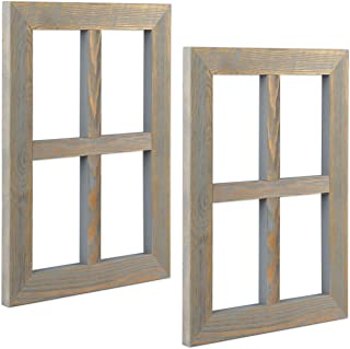 Ilyapa Window Frame Wall Decor 2 Pack - Rustic Gray Wood Window Pane Country Farmhouse Decorations