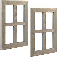 Ilyapa Window Frame Wall Decor 2 Pack - Rustic Gray Wood Window Pane Country Farmhouse Decorations