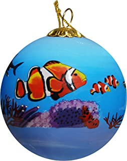 Art Studio Company Hand Painted Glass Christmas Ornament - Clown Fishes, Sea Turtles & Sharks On Reefs in Aruba