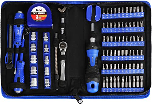 "Kaisi 87-Piece Ratcheting Screwdriver Set Ratchet Wrench Magnetic Drive Kit 67 Multi-Size Bits and 1/4"" Drive Sockets..."