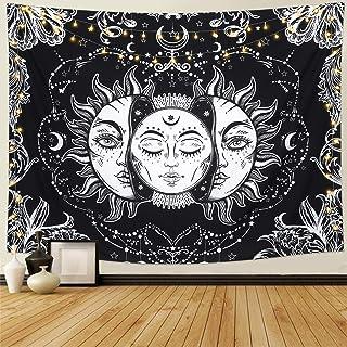 LOMOHOO Tapiz Tarot Sol y Luna Tapiz Psicodélico Colgante de Pared Celeste Tapices de Pared Indio Mandala Bohemio (A-Sun and Moon, L/148cmx200cm)