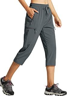 Libin Women's Cargo Hiking Pants Lightweight Quick Dry Capri Pants Outdoor Golf Casual Cropped Pants Zipper Pockets