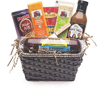 9pc Gourmet Summer Sausage and Cheese Gift Basket - Small