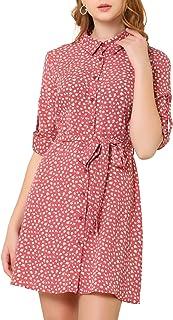 Allegra K Women's Ditsy Floral Long Sleeve Dresses Full Placket Point Collar Min