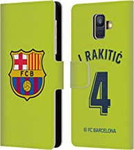 Official FC Barcelona Ivan Rakitic 2018/19 Players Home Kit Group 1 Leather Book Wallet Case Cover Compatible for Samsung Galaxy A6 (2018)