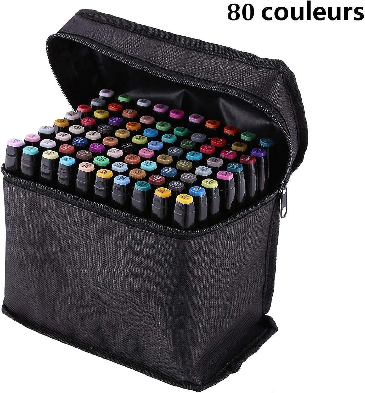 Goodup Set Set Set mit 80 Farben Touch Alkohol Graphic Sketch Twin Marker Pen breit feine Spitze schwarz B07K59MW4P     | Shop  6a1286