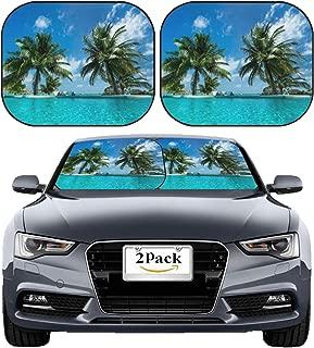 MSD Car Sun Shade Windshield Sunshade Universal Fit 2 Pack, Block Sun Glare, UV and Heat, Protect Car Interior, Image ID: 19877376 Tropical Beach and Pool
