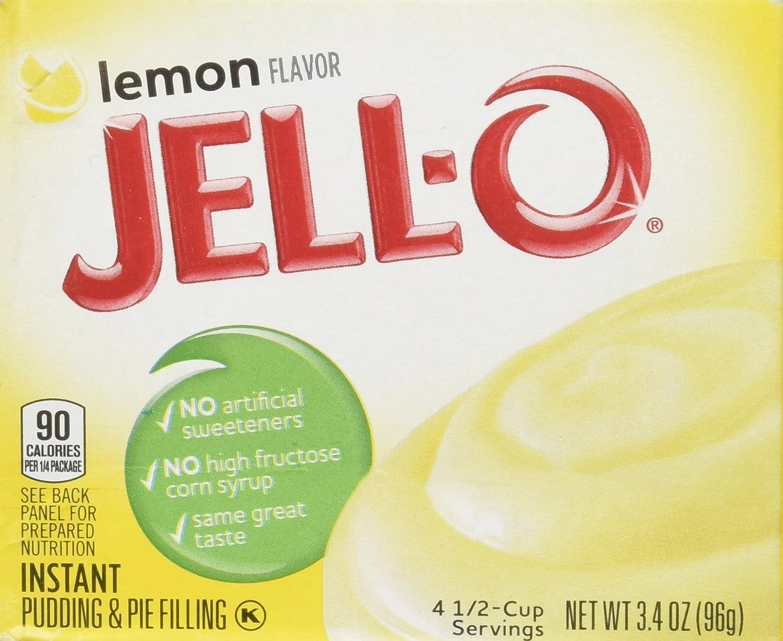 Jell-O Lemon Flavor Instant Pudding  Pie Filling, 3.4 Oz (96g)