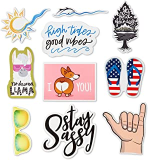 Decorative VSCO Stickers - for Water Bottle/Hydro Flask/Tumblr/Computer/Phone/Bike/Backpack - Trendy Accessories - Waterproof Stickers - Beach Aesthetic - Premium Decal - Vinyl Sticker Pack - 10