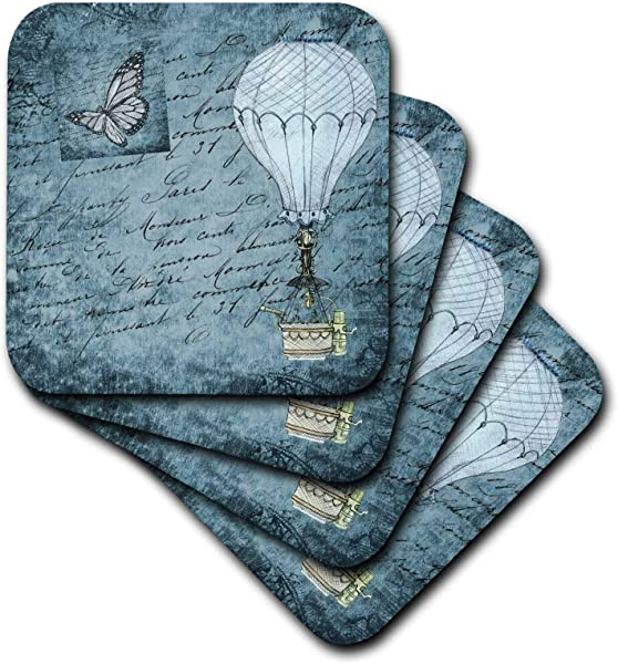 3dRose Lens Art By Florene Steampunk Image Of Hot Air Balloon And Butterfly With Typography On Aqua Set Of 4 Coasters Soft Cst 322186 1