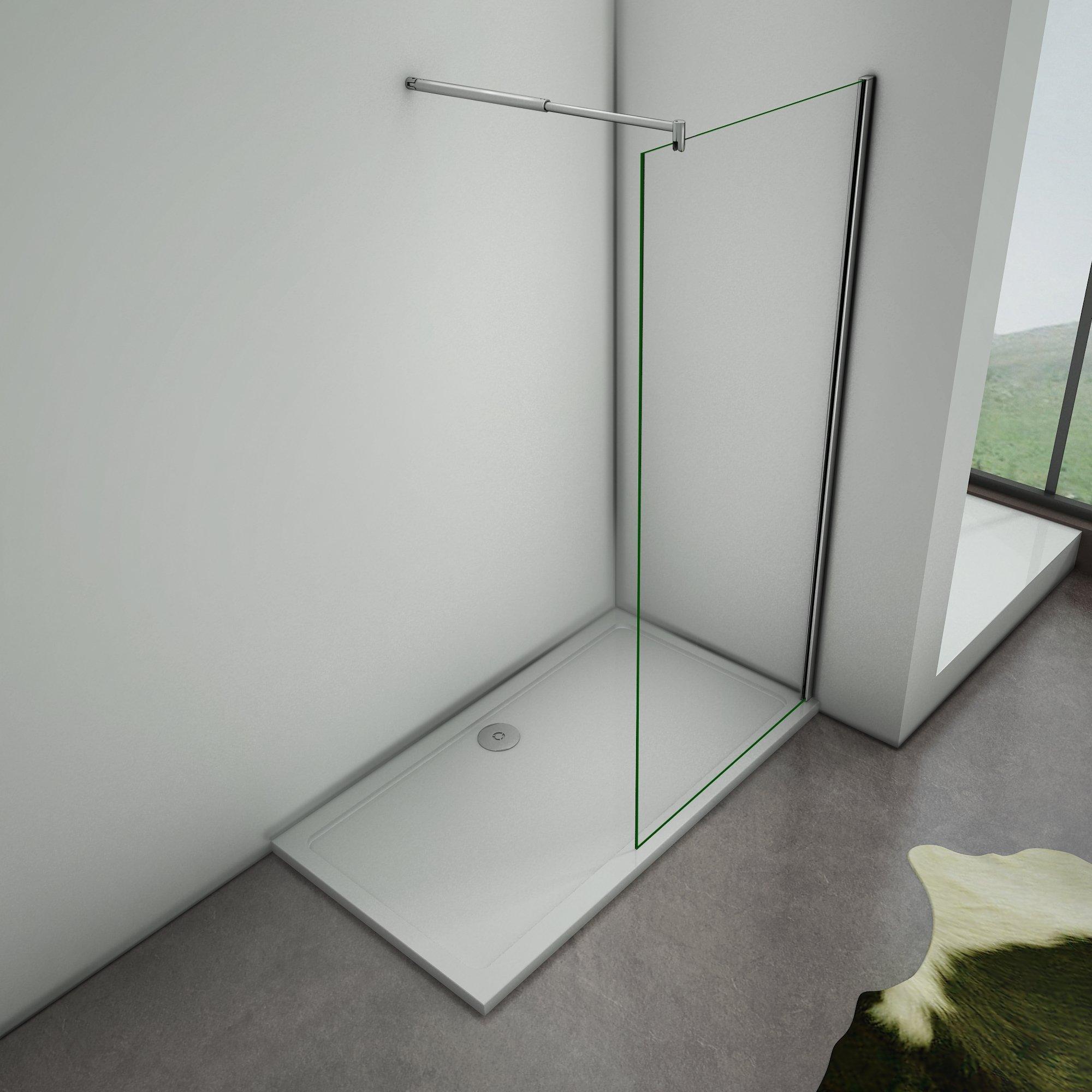Mamparas de Ducha Frontales Puerta Fijo WALK IN Antical 8mm Cristal Barra 70cm-120cm 80x200cm: Amazon.es: Bricolaje y herramientas