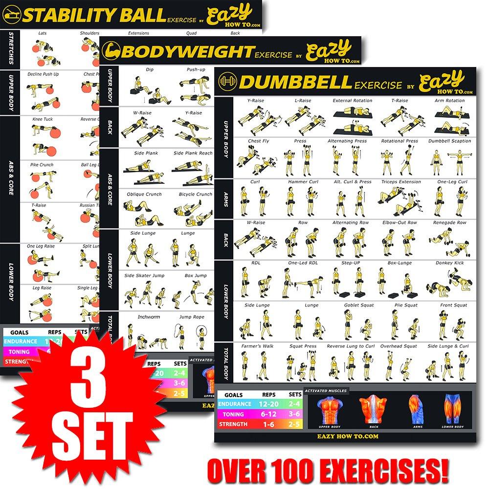 Eazy cómo a Multi Pack Bundle para Jovencita Ejercicio Workout Banner Póster 28 x 20