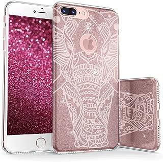 真正的彩色手机壳可与 iPhone 7 Plus 闪光手机壳,闪亮装饰大象印花三层混合式少女手机壳带防震 TPU 外壳 - 白色玫瑰金