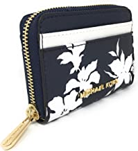 Michael Kors Jet Set Travel Zip Around Card Case (Navy/White)