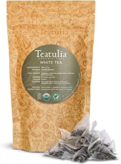 Teatulia Organic Whole-Leaf White Tea, 50 Reusable Premium Corn Silk Pyramid Tea Bags | Natural Caffeine & Award Winning T...