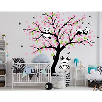 Black Pink Aiyang Kinderzimmer Wandtattoo Koala Baum Wandabziehbild Kindergarten Aufkleber Vogel Koalas Wandsticker Baby Kinderzimmer