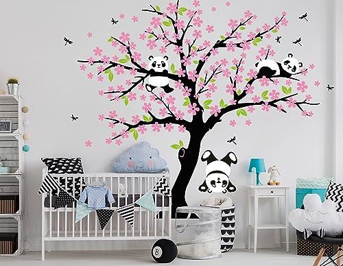 BDECOLL Grand cinq grands arbres forestiers avec des oiseaux volants Arbre Fond Autocollants Stickers muraux (Noir Rosa)