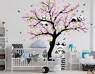 Bdecoll Decorativo para Pared Vinilos Arbol Decoraciones Del Arte con flores de rosa-2.2*1.8m Decoración habitación bebé/niños (Rosa)