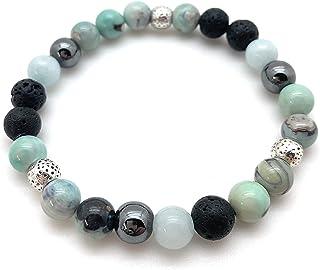 Laurali Designs Size 7 inches Medium Essential Oil Bracelet Aquamarine Mint Hematite Diffuser Aromatherapy Wellness