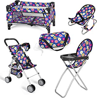 fash n kolor 4 Piece Baby Doll Play Set Flower Design Includes - Pack N Play, Baby Doll Stroller, Baby Doll High Chair, In...