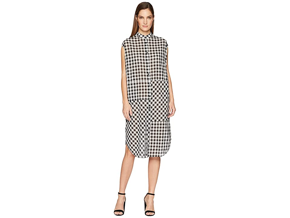 McQ Cut Up Sleeveless Shirtdress (Black/White Gingham) Women