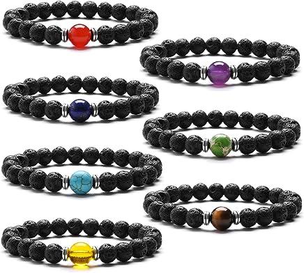 J.Fée 7 Pack Chakras Gemstone Réglable Bracelet Stretch Yoga Bracelet de Diffuseur
