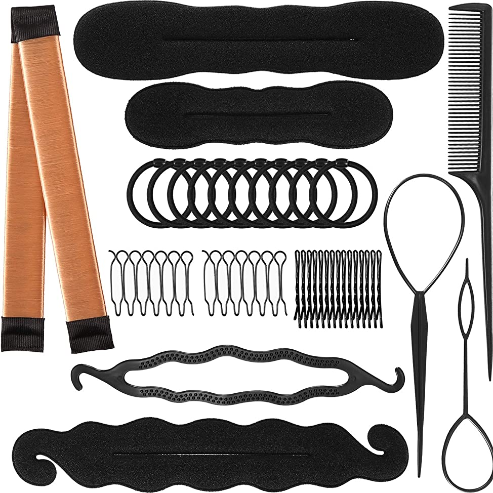 TecUnite 80 Pieces Hair Styling Accessories Kit Ponytail Holder Hair Bob Pins Bun Maker Hair Braid Tools for Women Hairs DIY