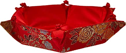 25x25cm Satin Embossed Hexagon Tray Chinese Motif - Assorted Prints (Wedding House-Warming Gifts, Fabric Candy Fruit Basket)