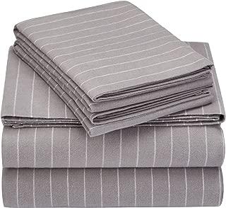 Pinzon 160 Gram Pinstripe Flannel Cotton Bed Sheet Set, King, Grey Pinstripe